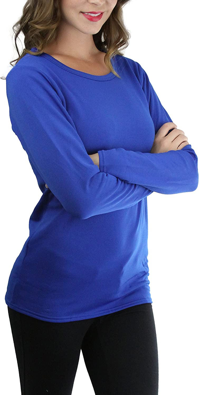 ToBeInStyle Women/'s Crew Neck Fleece Lined Long Sleeve Tee Thermal Tops