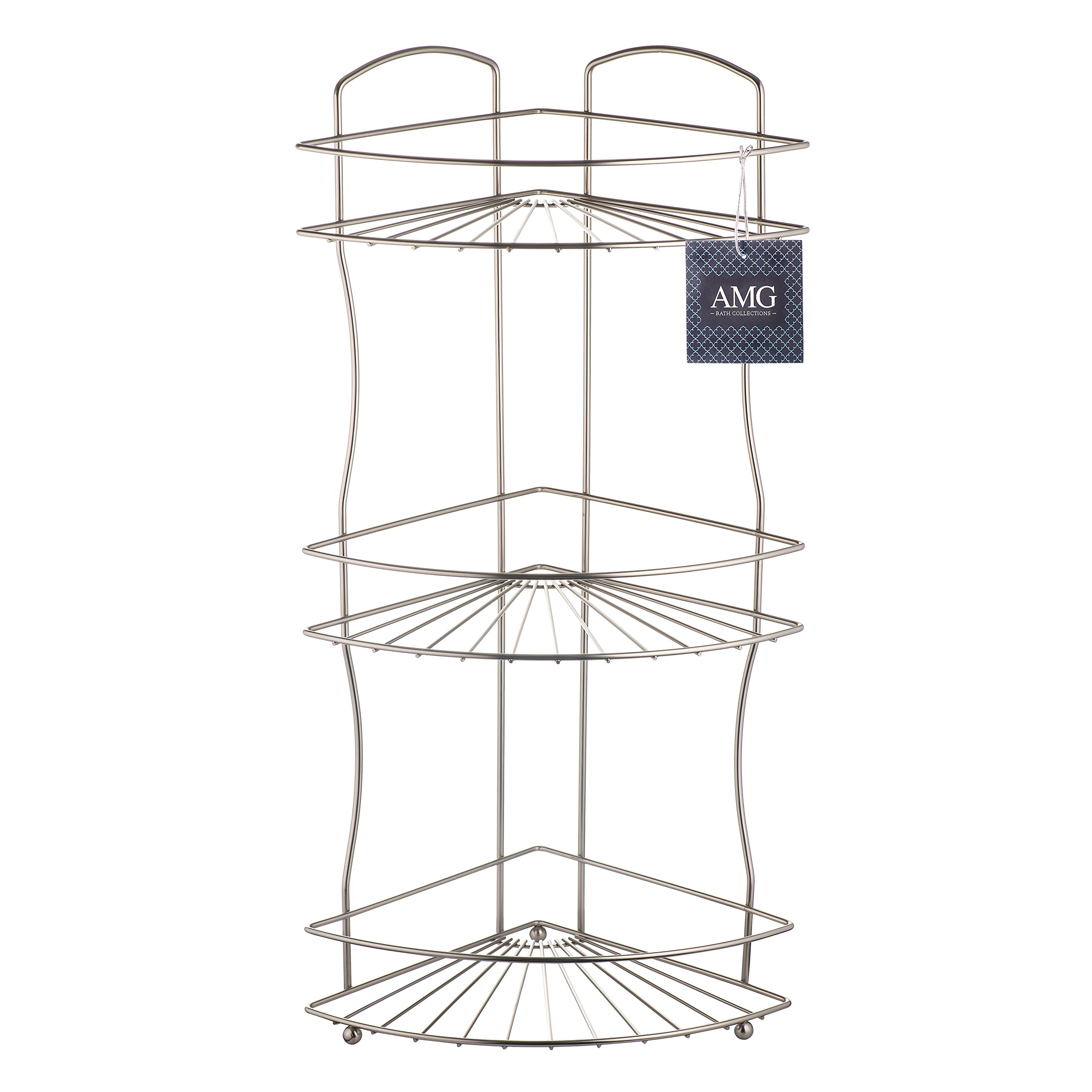 AMG and Enchante Accessories Free Standing Bathroom Spa Tower Floor Caddy, FC232-A SNI, Satin Nickel by AMG (Image #8)