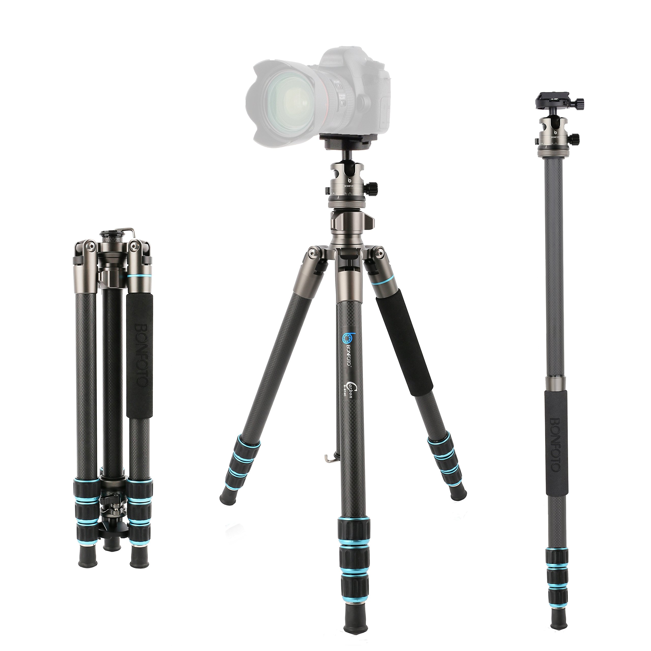 BONFOTO Carbon Fiber 57.6'' B674C Lightweight Portable Compact Travel Tripod and Monopod with 360 Degree Ball Head + 1/4'' Quick Release Plate + Carry Bag for Canon Nikon Sony DSLR Cameras