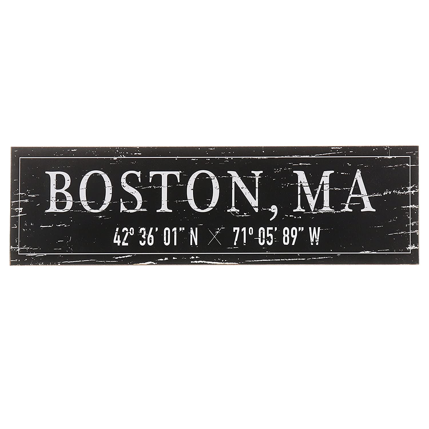 "Barnyard Designs Boston, MA City Sign Rustic Distressed Decorative Wood Wall Decor 17"" x 5"""