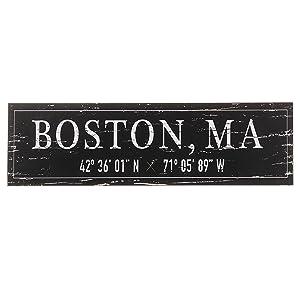 "Barnyard Designs Boston, MA City Sign Rustic Distressed Decorative Wood Wall Decor 17"" x 5"""
