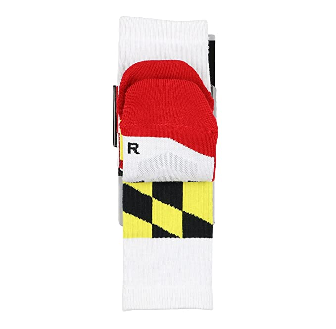 Amazon.com: Under Armour Mens Unrivaled Maryland Crew Socks Medium (4-8.5) White Red: Clothing