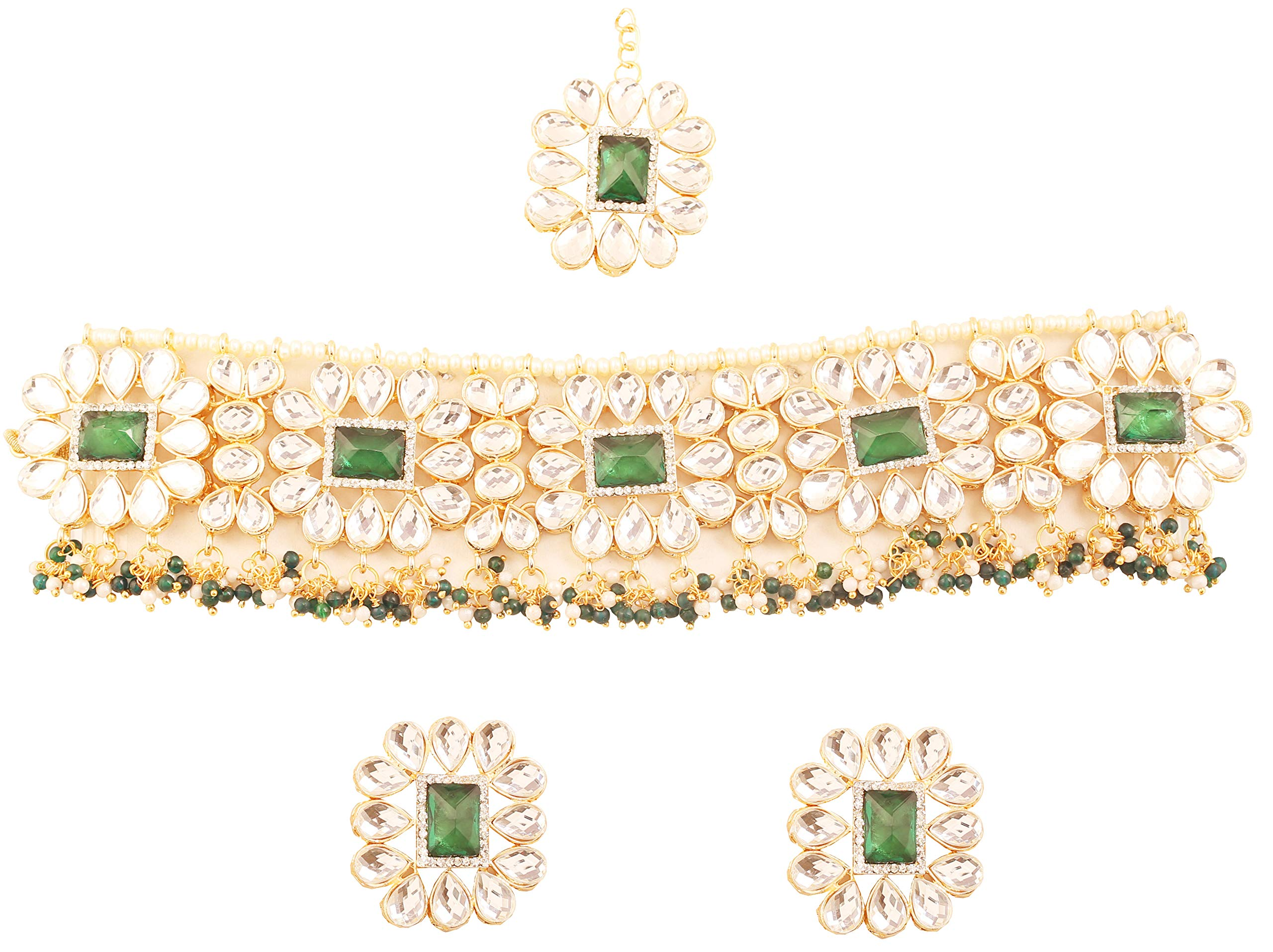 New! Touchstone Contemporary Kundan Collection Indian Bollywood Desire Mughal Dramatic Kundan Look Natural Faux Emerald Pearls Jewelry Choker in Antique Gold Tone for Women