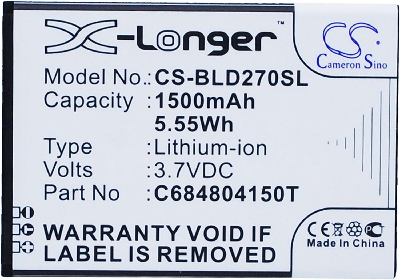 1500mAh Battery Replacement for BLU D270, D270a, D272, D272a, Dash 4.0, P/N C6804804150T, C684804150T
