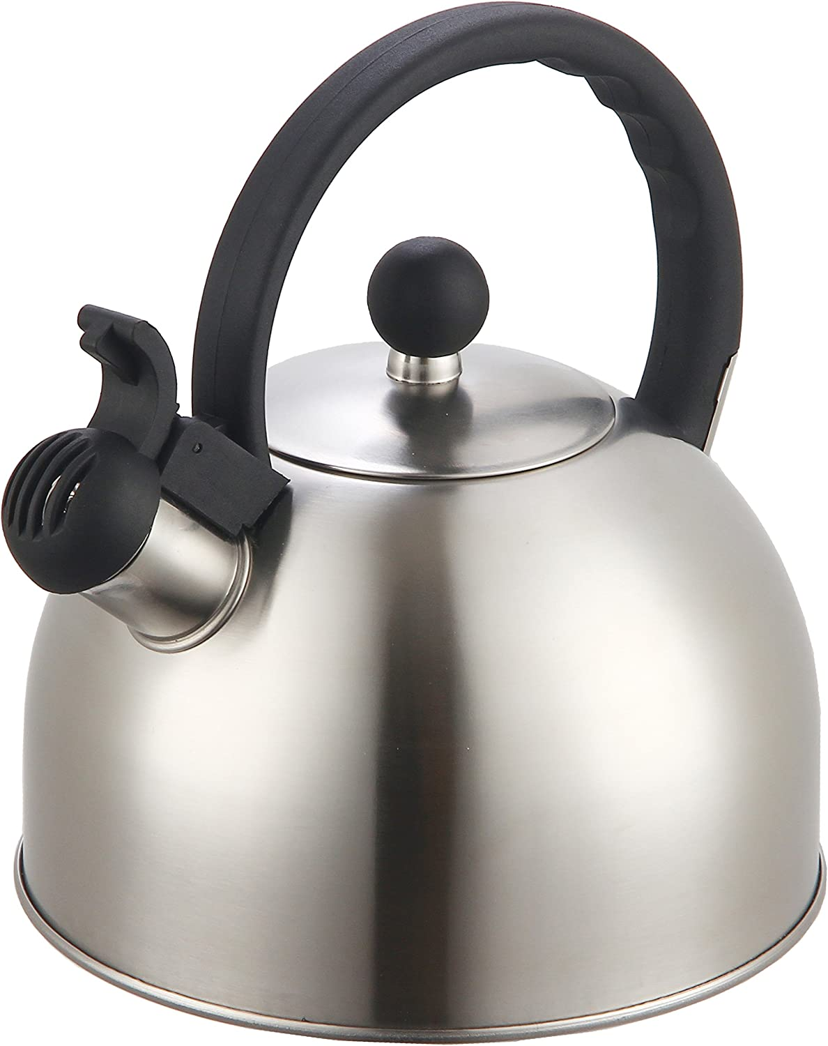 Modern Stainless Steel Whistling Tea Pot for Stovetop with Cool Grip Ergonomic Handle Zanzer 2.5 Liter Whistling Tea Kettle