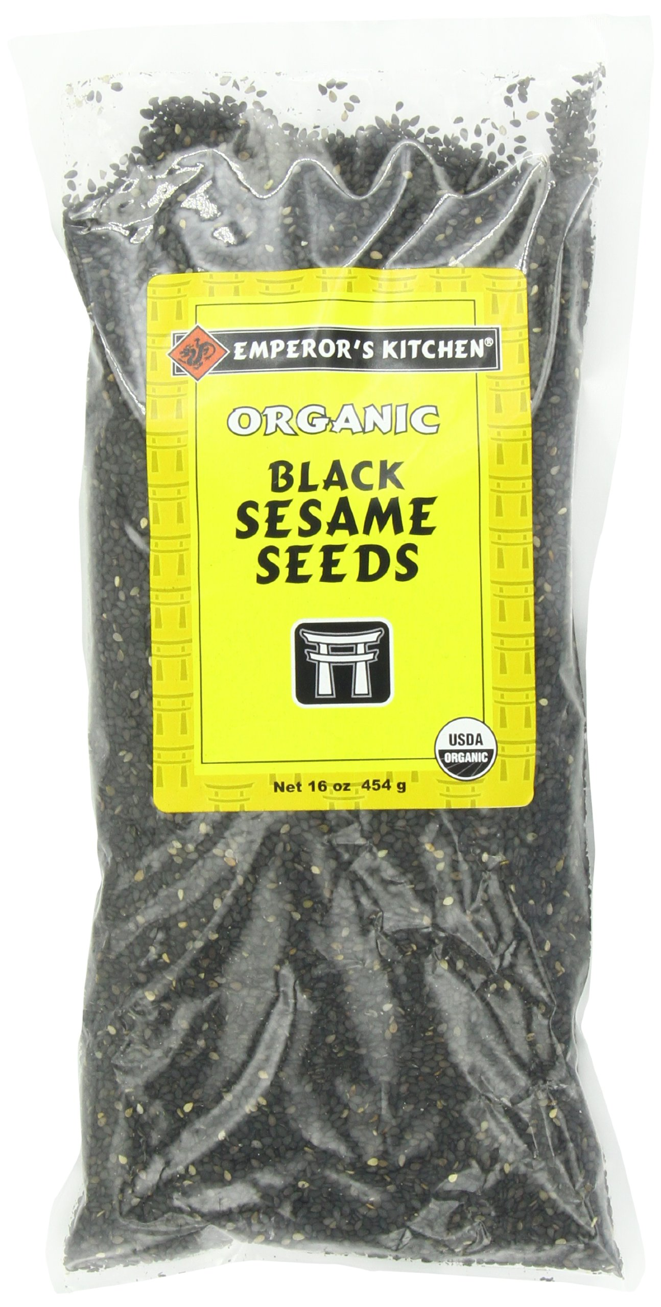 Emperor's Kitchen Organic Black Sesame Seeds, 16-Ounce Bags (Pack of 3)