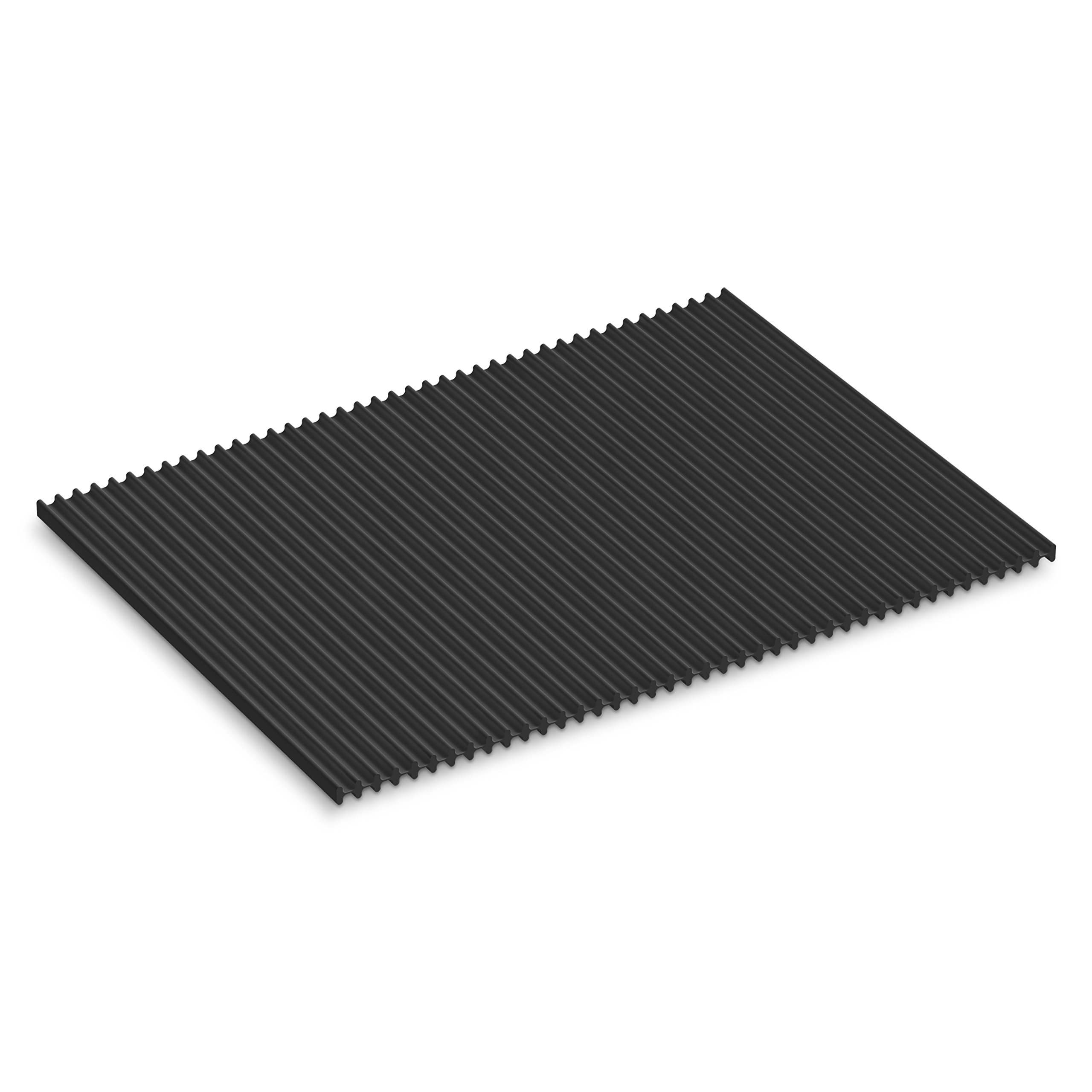 KOHLER Storable Large Silicone Dish Drying Mat 11'' x 15'', Heat Resistant up to 500 Degrees F, Charcoal