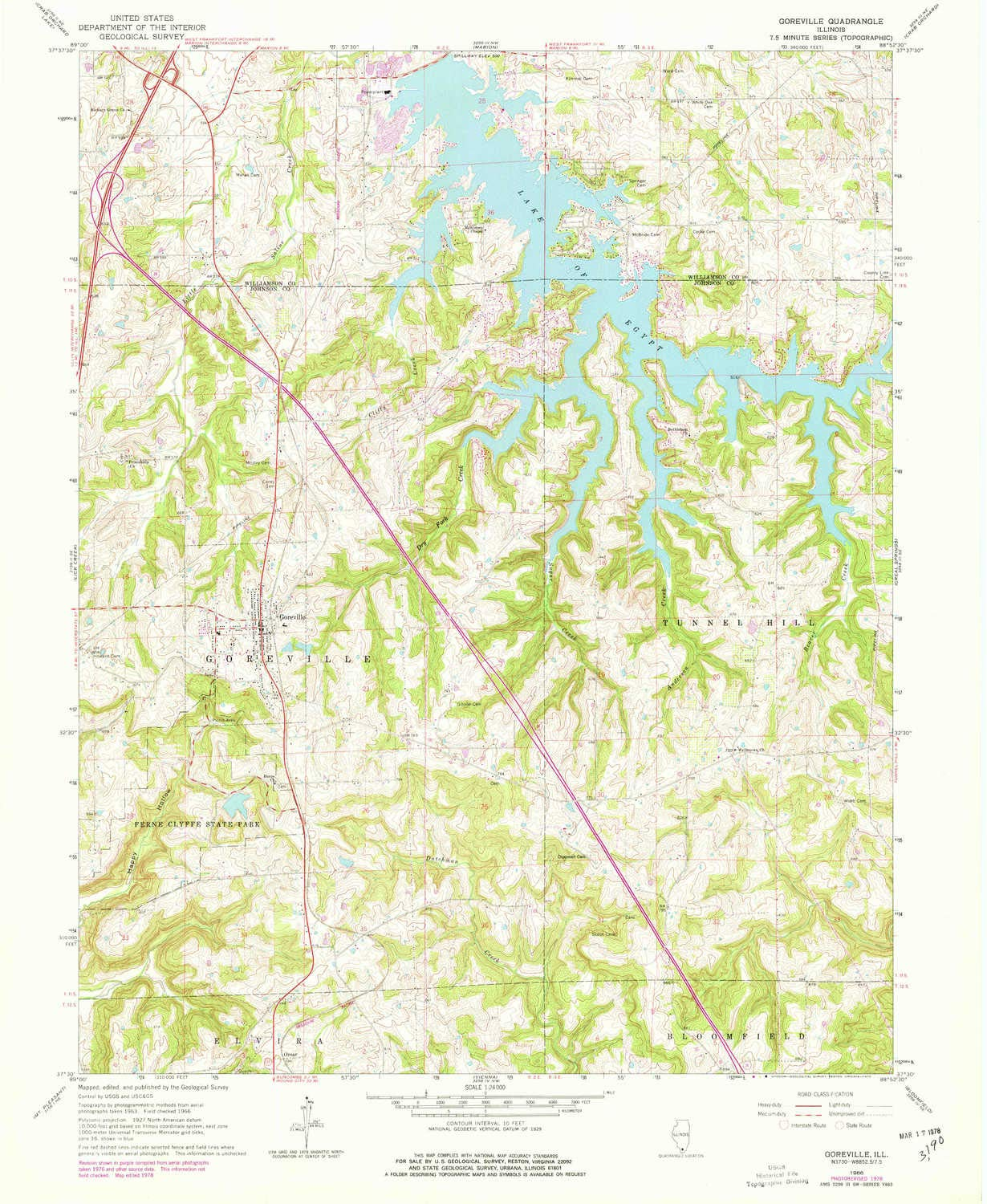 Historical 1966 7.5 X 7.5 Minute 26.8 x 22 in Updated 1978 YellowMaps Goreville IL topo map 1:24000 Scale