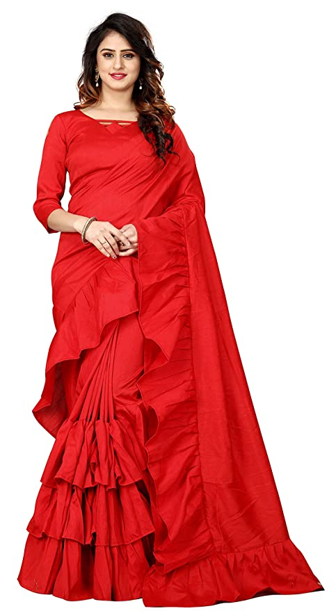 50d34daed Vastrang Sarees Womens Pure Silk Pink Ruffle Saree Design With Blouse  Piece  Amazon.in  Clothing   Accessories