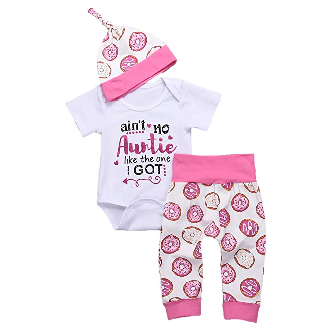 271dcb2b28ffb Younger Tree Newborn Baby Letter Romper and Pants and Hats Outfit Set Short  Sleeve Summer Clothing