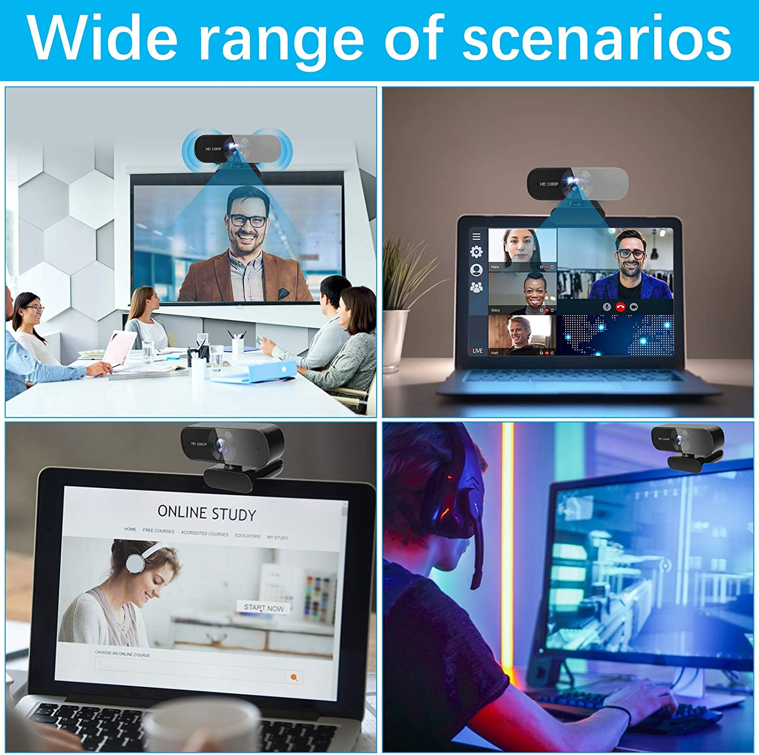FHD 1080P Webcam with Microphone, USB Computer Web Camera with Auto Light Correction, Wide-Angle Streaming PC Webcams, Compatible with Skype/Zoom/Google Hangouts/Facetime/Windows/Mac OS/Android