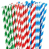 150 Pack Paper Straws - Biodegradable Straws Red, Blue, and Green Striped Design Bulk Drinking Straws