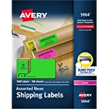 """Avery 2""""x 4"""" Neon Shipping Labels with Sure Feed for Laser Printers, Assorted Colors, 1,000 Neon Labels (5964)"""