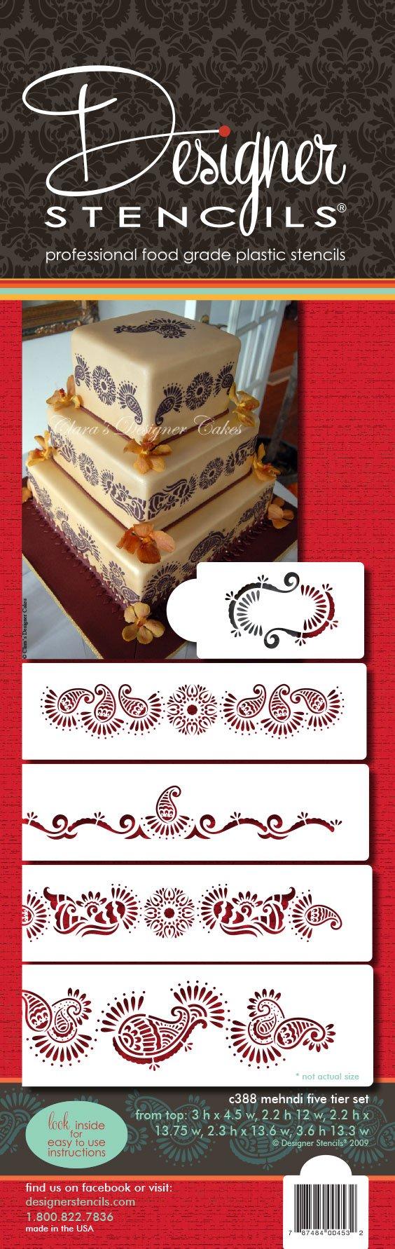 Designer Stencils C388 Mehndi Cake 5 Tier Set Cake Stencils, Beige/semi-transparent by Designer Stencils (Image #4)