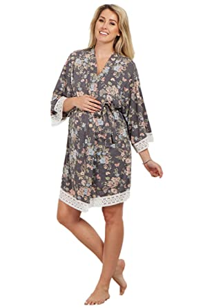 d4ad8dd58fe PinkBlush Maternity Charcoal Floral Crochet Trim Delivery Nursing Robe at  Amazon Women s Clothing store