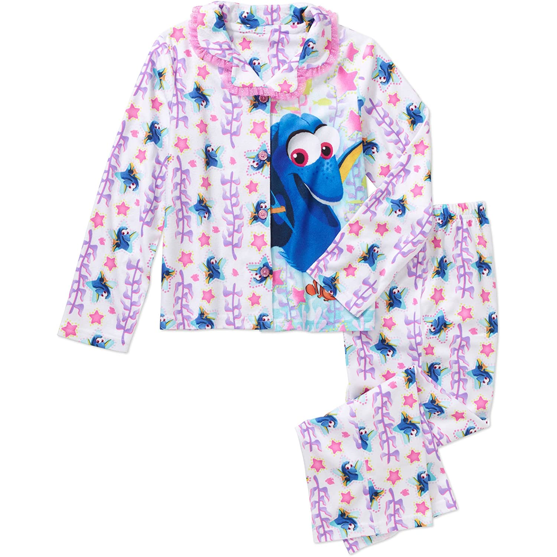 Disney Girls' Finding Dory 2 Piece Sleepwear Pajama Coat Set White