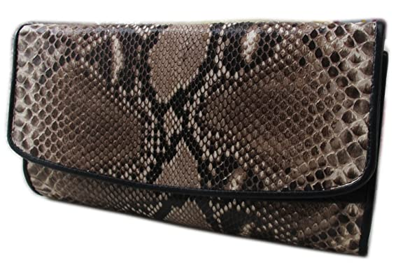 Image Unavailable. Image not available for. Color  GENUINE PYTHON LEATHER  TRI FOLD CLUTCH WALLET ... b58ab8804e