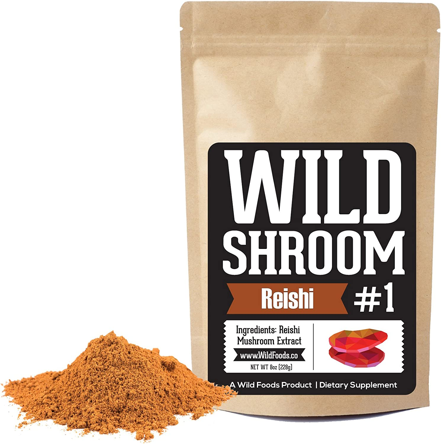 Reishi Mushroom Extract 10 1 Superfood Powder by Wild Foods Fruiting Bodies Only Adaptogenic Herb for Immune System, Sleep Aid, and Nootropic Mental Performance Two 8 Ounce
