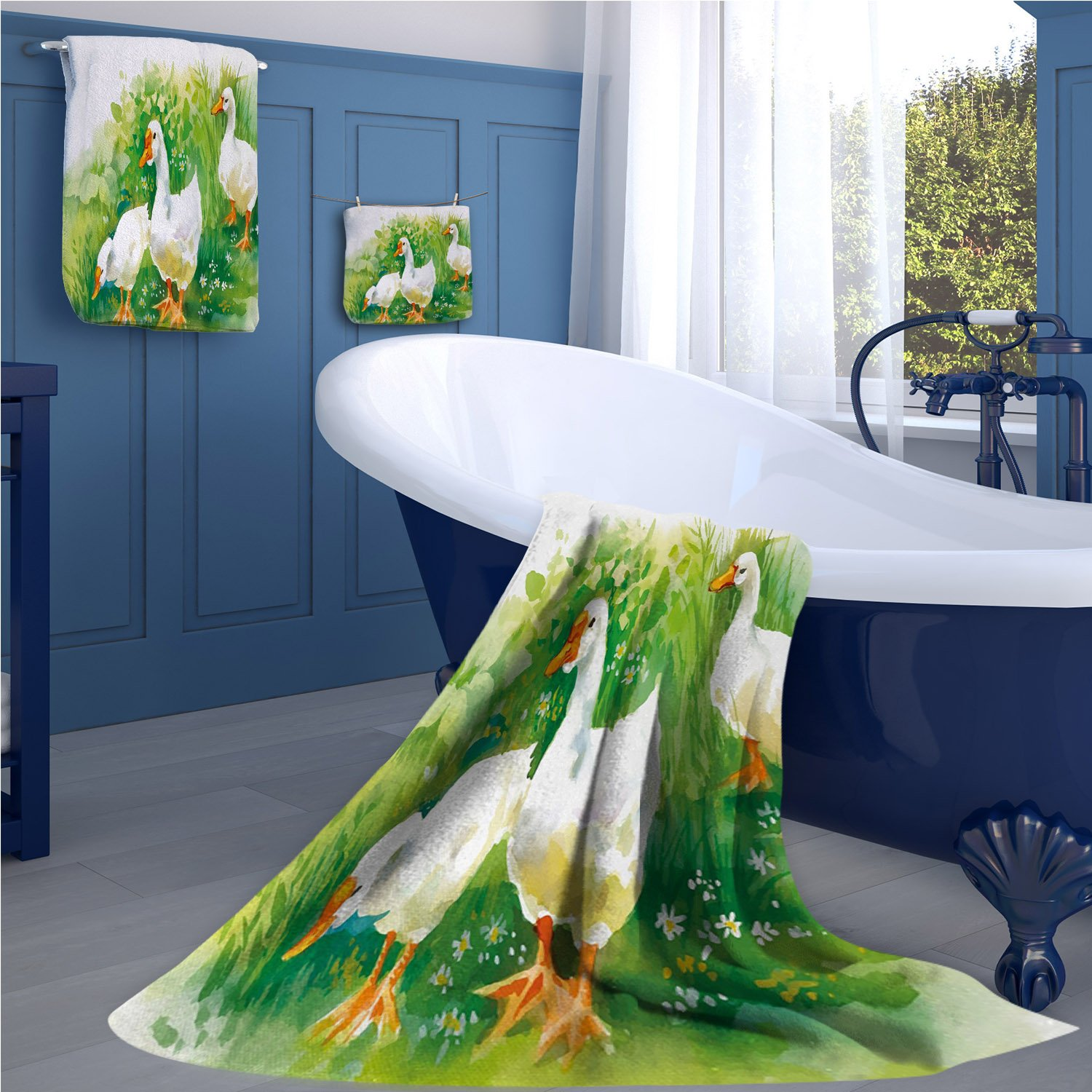 familytaste Rubber Duck Print bathroom accessories set Goose in Farm Lake Plants Grass Reeds Flowers Pond Animals Geese Feathers personalized hand towels set Green and White