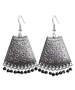 GEODE DELIGHT Jhumki Earrings for Women (Silver) (VV65_BL454)