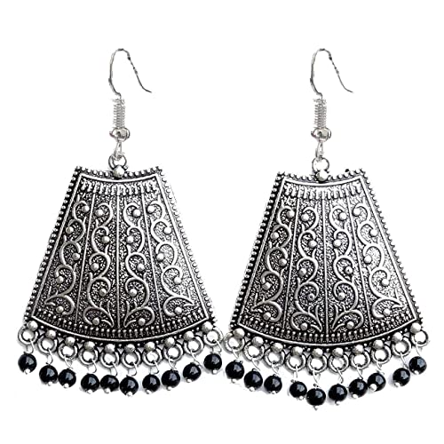 189b372b2 Buy Geode Delight Oxidized Silver Plated Black Beads Jhumki Jhumka Earring  for Women & Girls Online at Low Prices in India | Amazon Jewellery Store ...