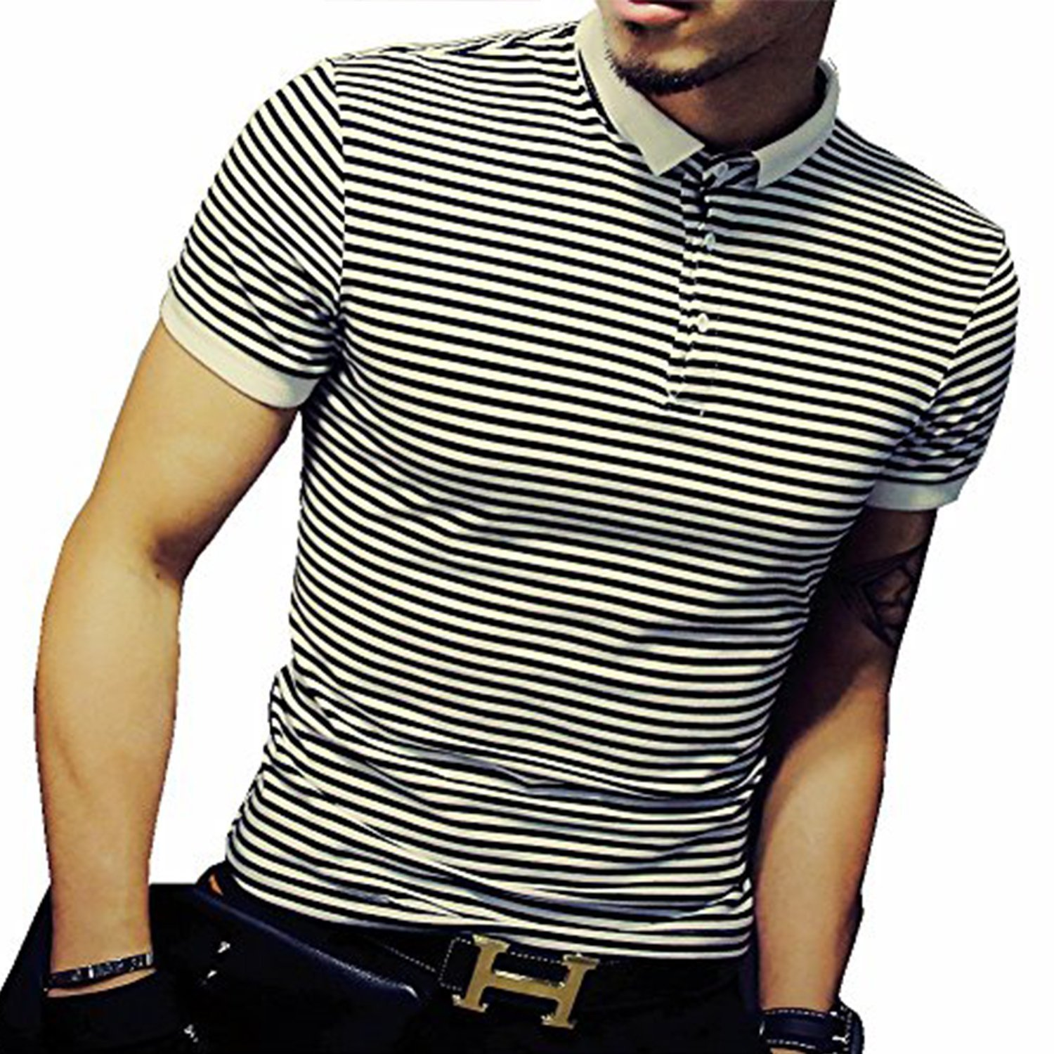 LOGEEYAR Mens Summer Slim Fit Contrast Color Stitching Stripe Short Sleeve Polo Casual T-Shirts (small, 501-black)