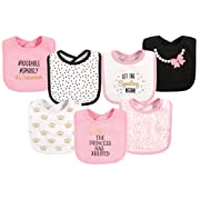 Hudson Baby Cotton Drooler Bibs, 7 Pack, Princess
