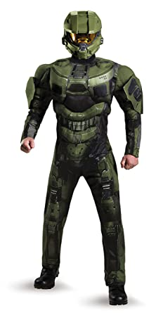 Disguise Menu0027s Halo Deluxe Muscle Master Chief Adult Costume Green Medium  sc 1 st  Amazon.com & Amazon.com: Disguise Menu0027s Halo Deluxe Muscle Master Chief Adult ...