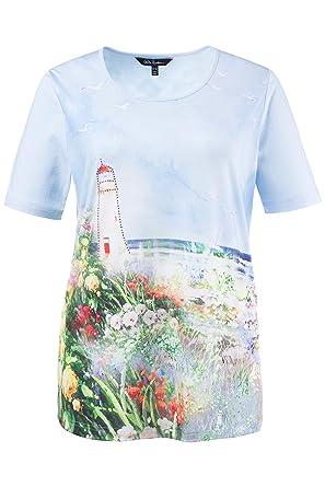 d6339f58d4 Ulla Popken Women's Plus Size Floral Lighthouse Graphic T-Shirt 710905 at Amazon  Women's Clothing store: