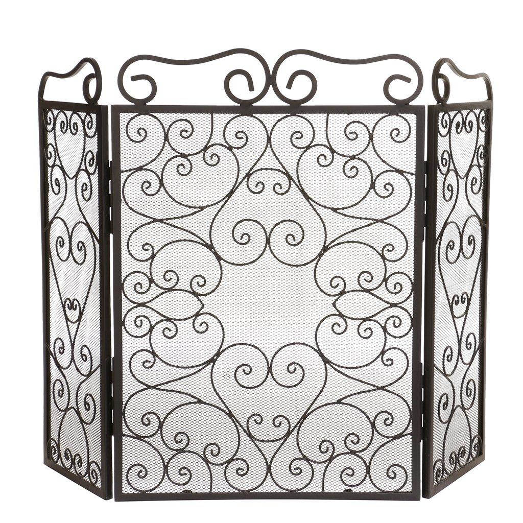 Free standing ornato Scrolled mesh Fireplace Screen per bambini e animali domestici di sicurezza Dibor