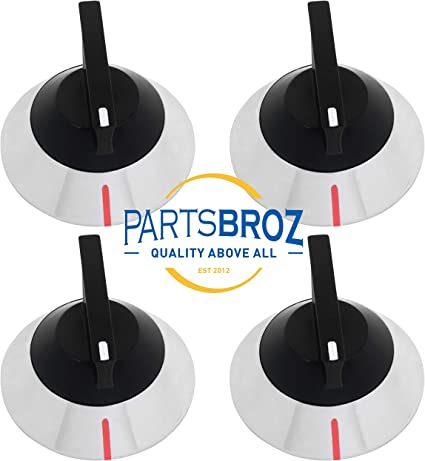 329404 328135 WP330190VP Replaces WP330190 PS11741145 AP6008016 330190 ER330190 Pack of 4 309540 Top Burner Control Knobs for Whirlpool Electric Ranges by PartsBroz
