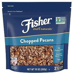 FISHER Chef's Naturals Chopped Pecans, 10 oz, Naturally Gluten Free, No Preservatives, Non-GMO
