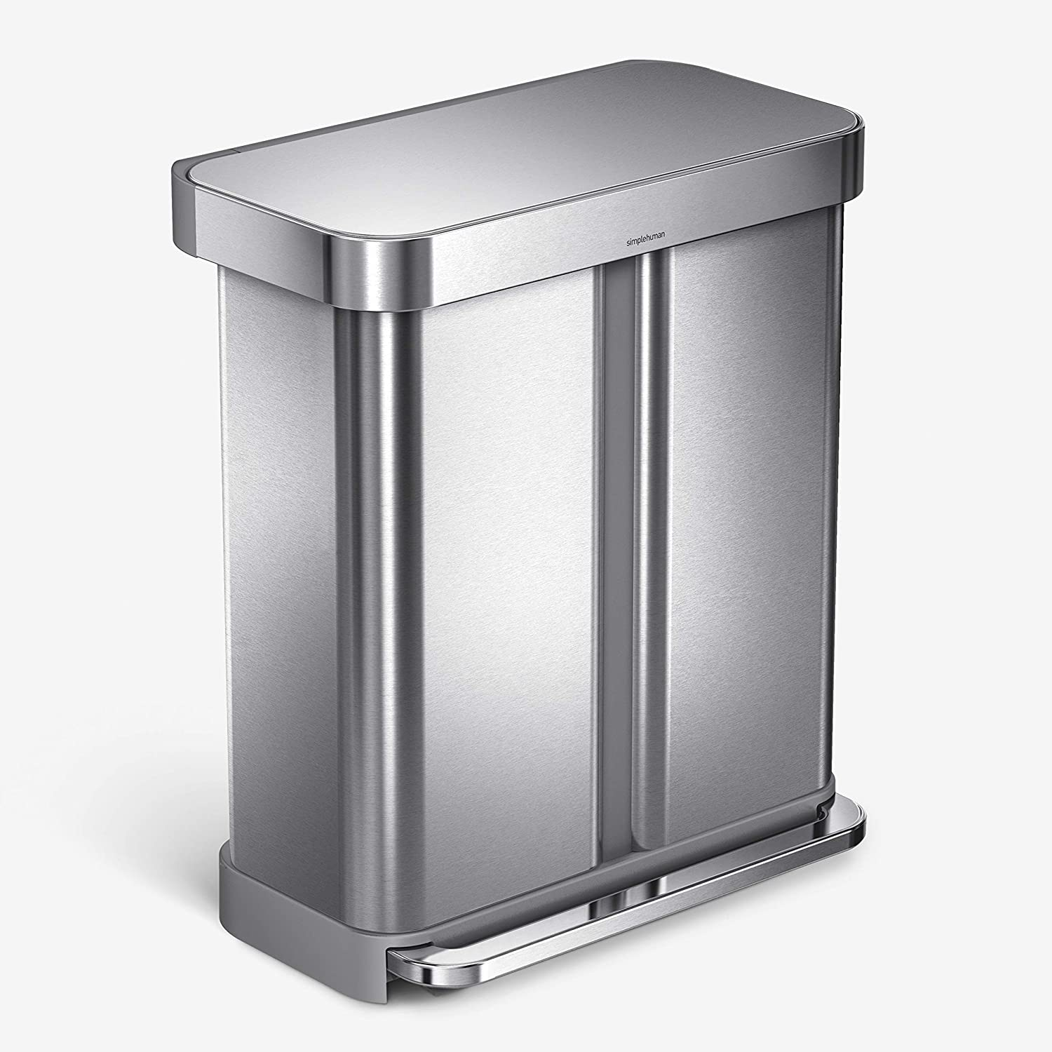 Double Trash Can Bin 15L 2-Compartment Waste Storage Twin Lid
