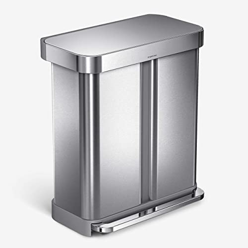simplehuman-58-Liter-Rectangular-Hands-Free-Dual-Compartment-Recycling-Kitchen-Step-Trash-Can