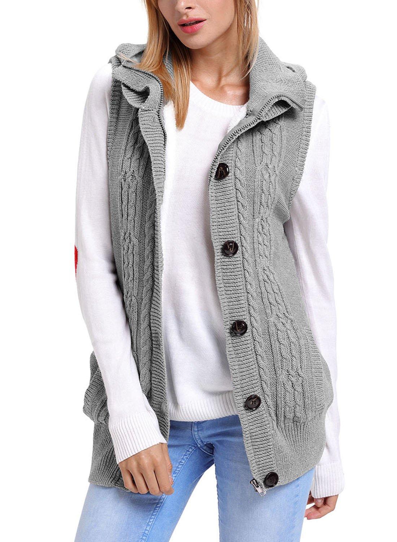 Sidefeel Women Hooded Sweater Vest Knit Cardigan Outerwear Coat Small Grey 1