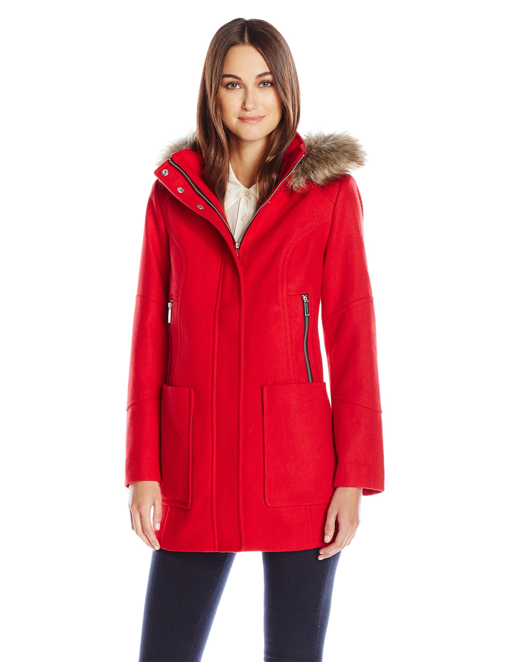 London Fog Women's 31'' Wool With Faux Fur Trim Hood, Red, S
