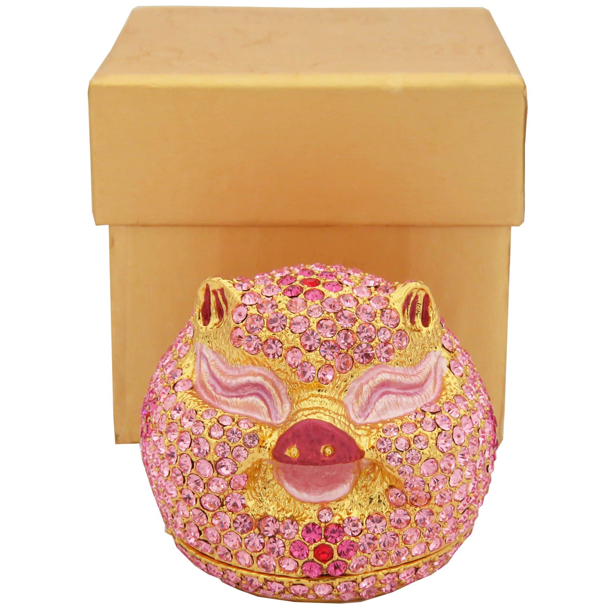 Blush Pink Enameled Pig Head Figurine Trinket Jewelry Box With Swarovski Elements Crystals by Krustallos
