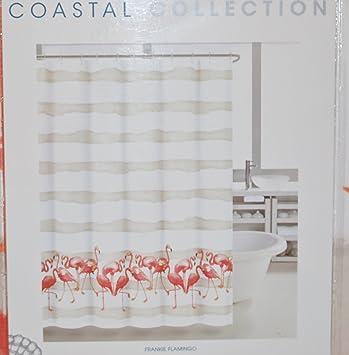 Amazon.com: Coastal Collection Flamingo Cotton Shower Curtain: Home U0026  Kitchen