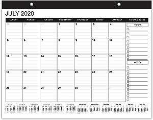 Black Wall Calendar 2020 - Large Calendars 2021 Monthly Desk Calendar 2021-2022 Hanging 17.75 x 13.75 Inches