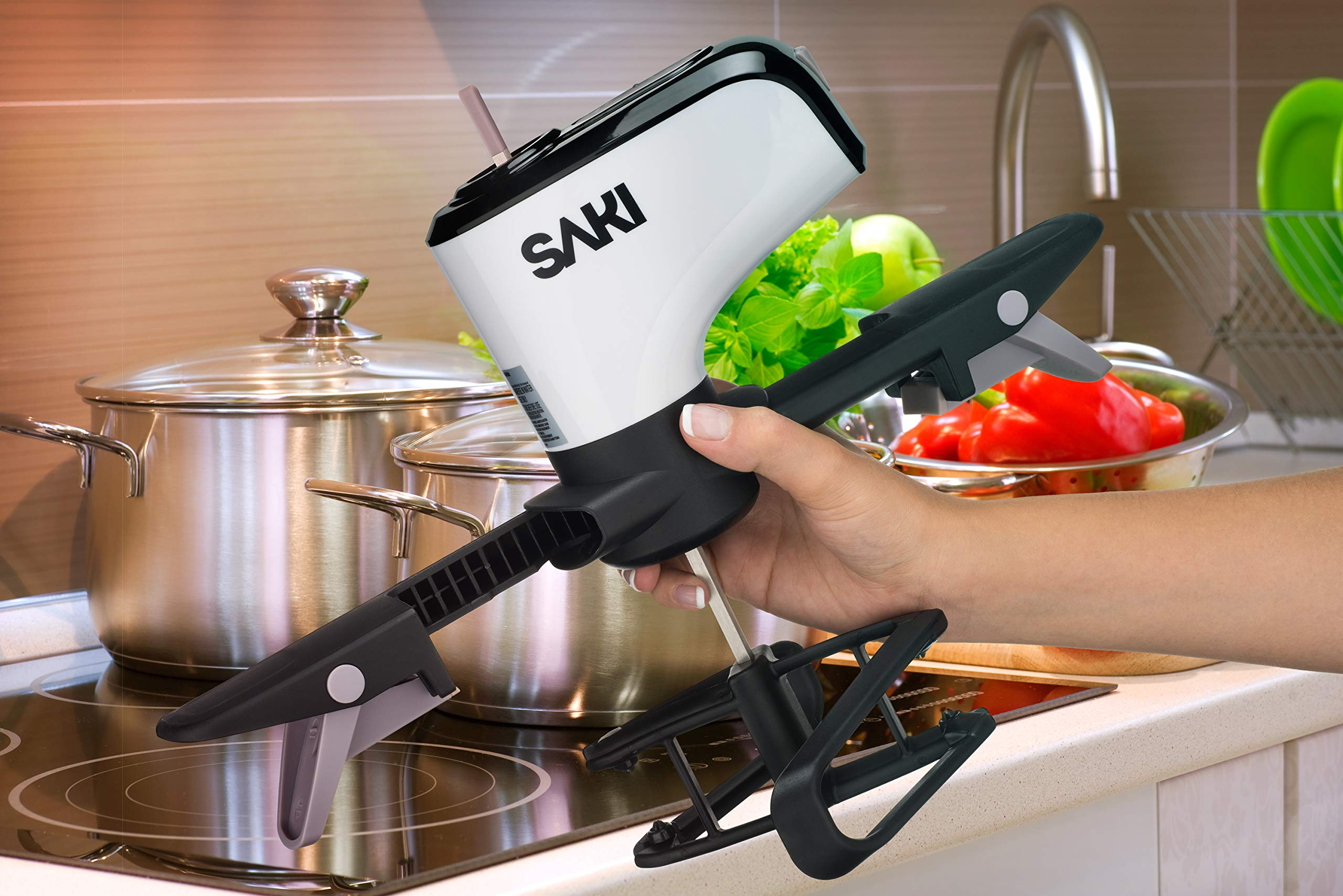 SAKI Automatic Pot Mixer Auto-Stirrer for Cooking - Adjustable, Hands Free, Electric - Self Stirring Kitchen Gadget with 2 speeds for Hot Pan, Saucepan - Easy-to-Use Food Tool Pot Accessories (Unique) by SAKI (Image #5)