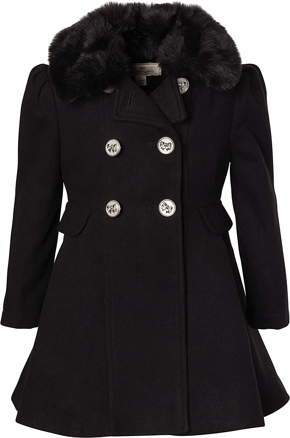 Cremson Girl Wool Look Winter Princess Bow Dress Pea Coat Jacket Faux Fur Collar