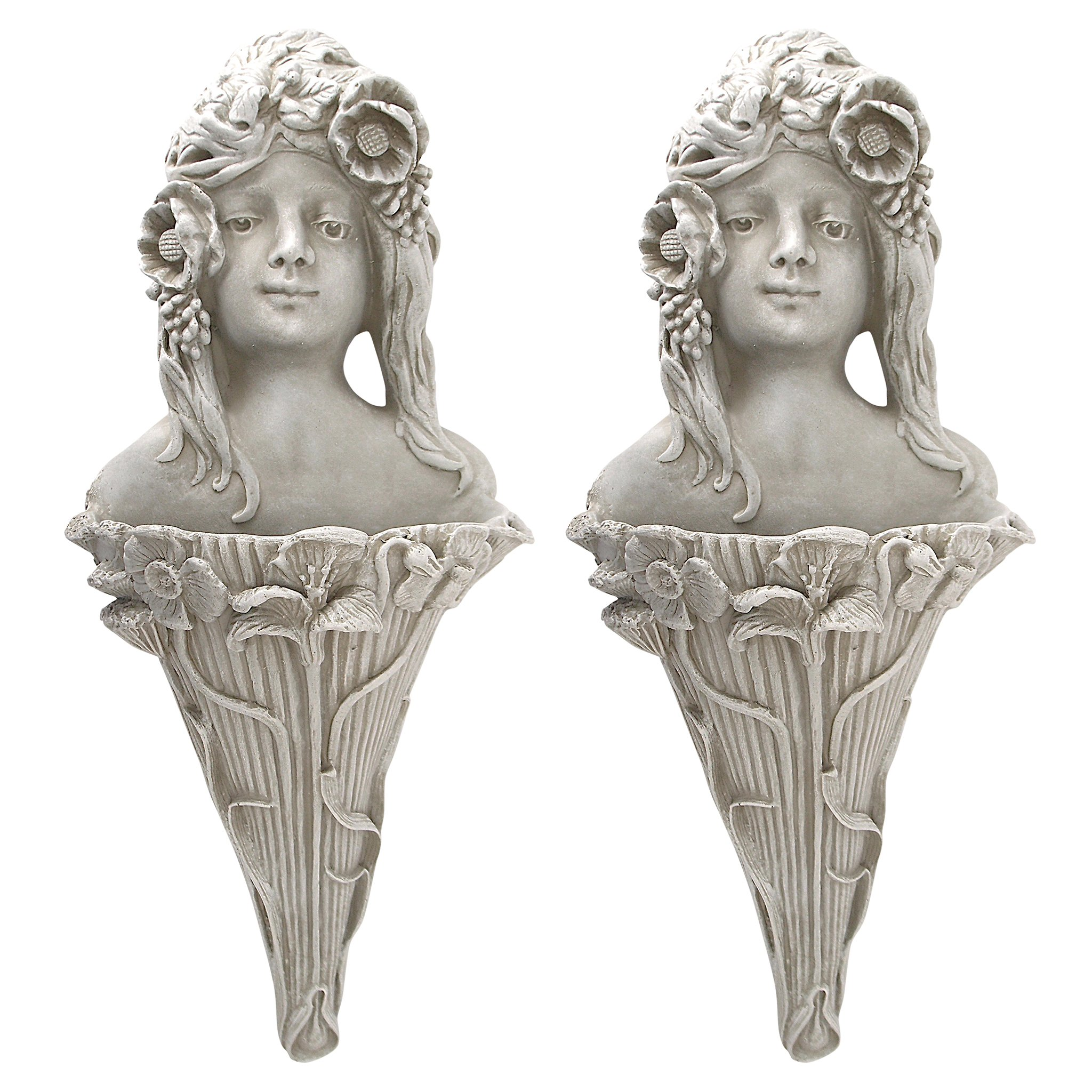 Design Toscano Art Nouveau Poppy Princess Wall Pocket Planter Sculpture (Set of 2), Antique Stone by Design Toscano