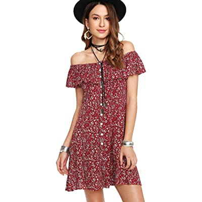 Floerns Women's Off Shoulder Calico Print Short Sleeve Dress with Button at Women's Clothing store