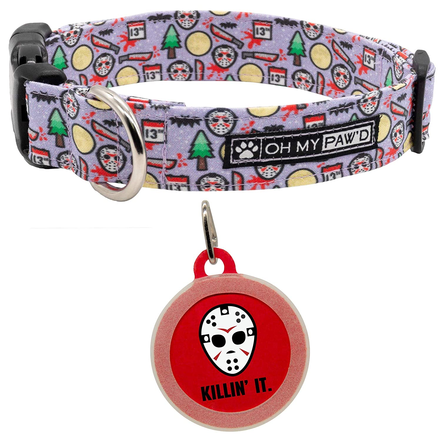 Hand Made Dog Collar by Oh My Pawd Friday the 13th Collar for Pets Size Small 3//4 Inch Wide and 12-17 Inches Long