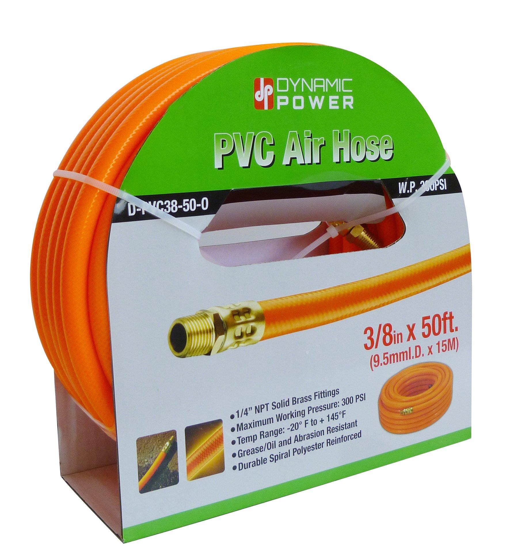 Dynamic Power PVC Air Hose Heavy-Duty Air Hose, 50ft, 3/8-Inch, Reinforced PVC Hose with Brass Fittings (Orange)