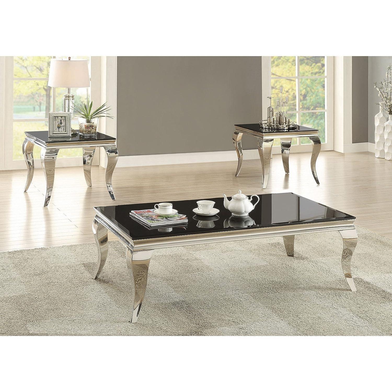 "Amazon Coaster Carone 51 25"" Coffee Table with Chrome"