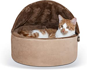 K&H Pet Products Self-Warming Kitty Hooded Bed - Hood is Removable