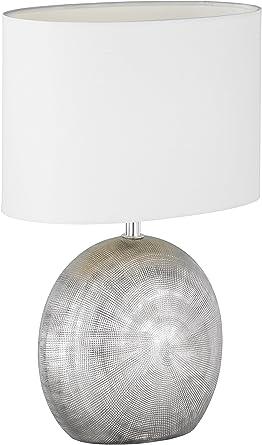 WOFI Lámpara de Mesa E14, 40 W, Plata, 24 x 17 x 37 cm, brillo ...