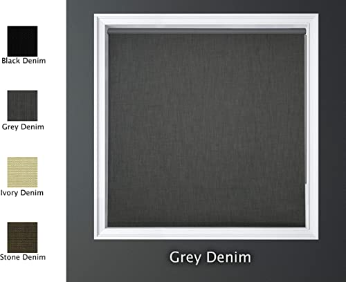 Luxr Blinds Custom-Made Modern Denim 100 Blackout Roller Window Shades Denim Blackout Window Roller Shades Indoor, Outdoor Size 71 W X 72 L Grey Denim