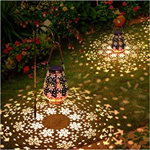 2 Pack Solar Lights Outdoor Decorative, RECHOO Upgraded Solar Lanterns Outdoor Hanging, Solar Powered Retro Metal Waterproof LED Garden Lights for Table Patio Yard Party Decoration
